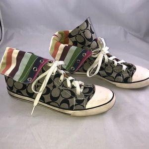 Coach Rare vintage black high tops fold rainbow